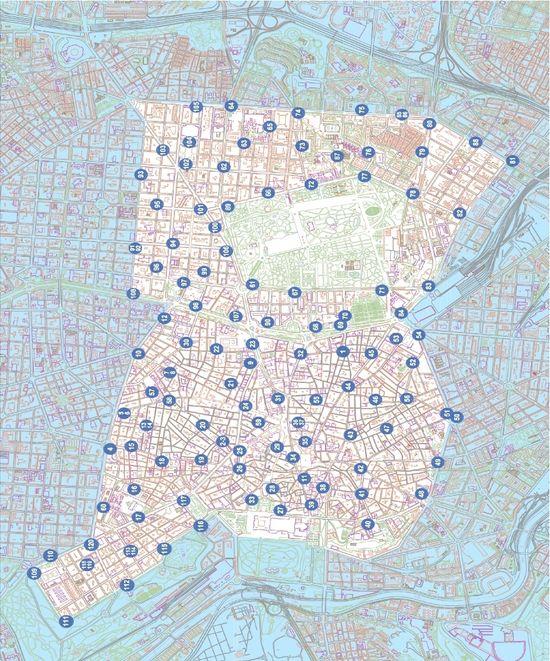 Mapa de distribución de anclajes de My Bici. Fuente. Ayuntamiento de Madrid
